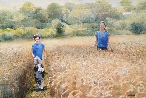 'Lucy & Lois 2' - watercolour painting by Richard Lingard